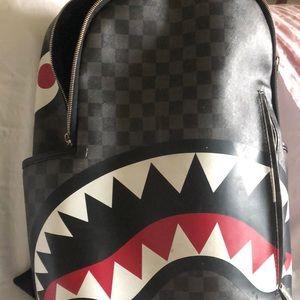 Sprayground Bape x LV print backpack